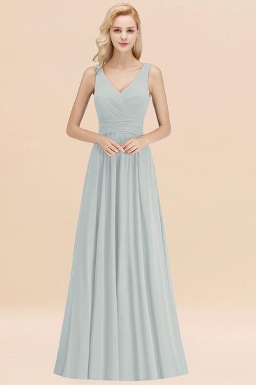 Modest Sleeveless V-Neck Long Chiffon Bridesmaid Dress Online with Ruffle_38