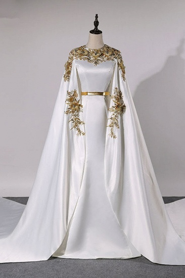 Elegant Satin Jewel Appliques Long Prom Dresses with Sash Online_1
