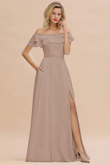Exquisite Off-the-shoulder Slit Mint Green Bridesmaid Dress With Pockets_16