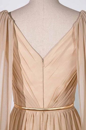 Chic Chiffon V-Neck Ruffle Prom Dresses with Beadings Sash On Sale_6