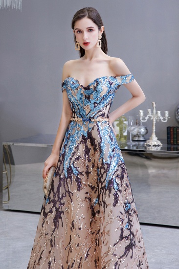 BMbridal Glamorous Off-the-Shoulder Sequins Evening Gowns Long Multi-Color Prom Dress_6