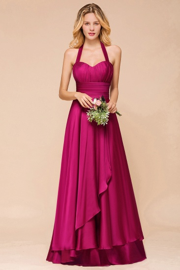 Fuchsia Halter Chiffon Bridesmaid Dresses Long Online