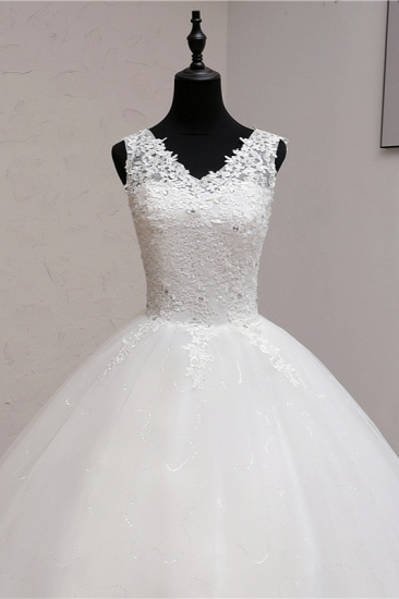 BMbridal Ball Gown V-Neck White Tulle Wedding Dresses Sleeveless Lace Appliques Bridal Gowns with Beadings_6