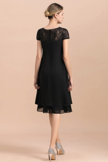 BMbridal Chic Black Cap Sleeve Mother of Bride Dress Chiffon Short Wedding Party Gowns_3