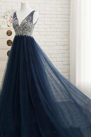 Affordable Dark Navy Tulle V-Neck Prom Dresses Ruffle Appliques beadings Party Dresses On Sale_5