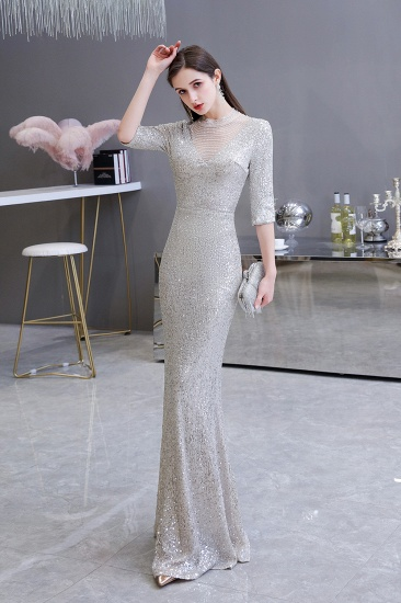 Silver Half Sleeve Sequins Prom Dress Mermaid Long Evening Gowns_5