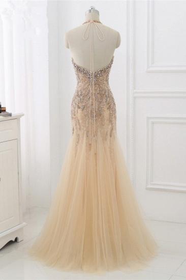 BMbridal Elegant Tulle Halter Rhinestones Mermaid Prom Dresses Sleeveless Appliques Online_3