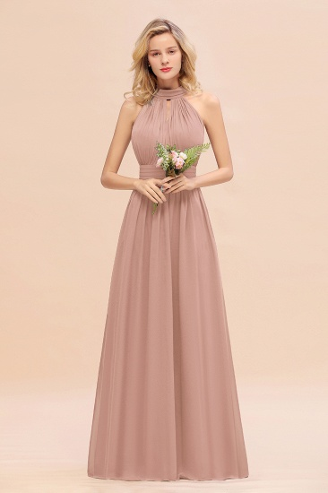 Glamorous High-Neck Halter Bridesmaid Affordable Dresses with Ruffle_6
