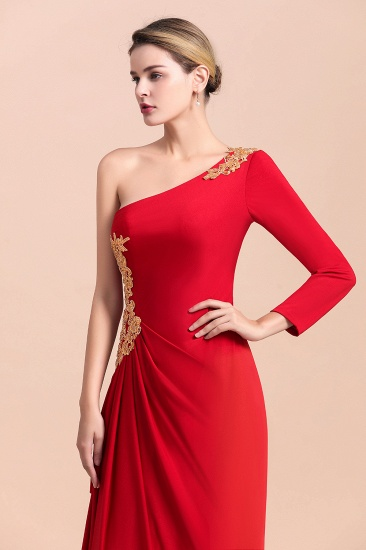 Chic One-Shoulder Long Sleeves Ruffle Mother of Bride Dresses with Appliques_8