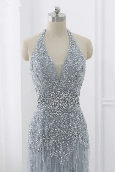 BMbridal Elegant Tulle Halter Rhinestones Mermaid Prom Dresses Sleeveless Appliques Online_10