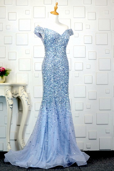 Glamorous Off-the-Shoulder Blue Mermaid Prom Dresses with Rhinestones On Sale_1
