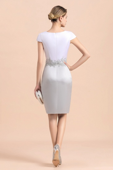 Elegant Silve Short Mother Of the Bride Dress Knee-Length Wedding Party Gowns_10
