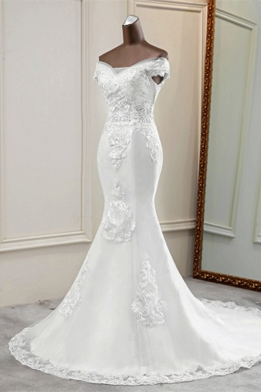 BMbridal Elegant Off-the-Shoulder Sleeveless White Mermaid Wedding Dresses with Beadings_5