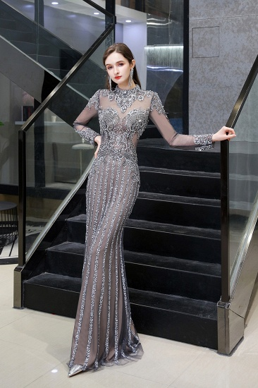 BMbridal Gorgeous Long Sleeve Mermaid Prom Dress With Sequins High-Neck Evening Gowns_4