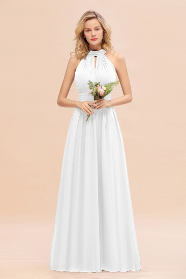 Glamorous High-Neck Halter Bridesmaid Affordable Dresses with Ruffle_1