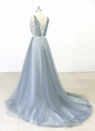 BMbridal Elegant Gray Tulle Round Neck Beach Wedding Dress Jewel Sweep Train Bridal Gowns On Sale_4