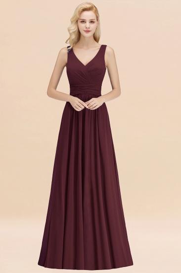 Modest Sleeveless V-Neck Long Chiffon Bridesmaid Dress Online with Ruffle_47