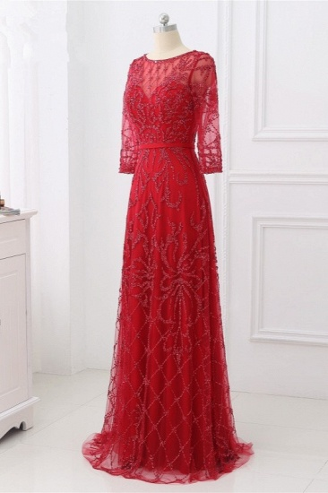 Glamorous Red Tulle Jewel Appliques Prom Dresses Long Sleeves with Rhinestones On Sale_4