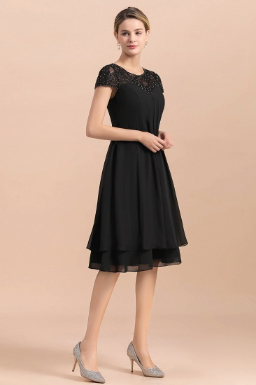 BMbridal Chic Black Cap Sleeve Mother of Bride Dress Chiffon Short Wedding Party Gowns_5