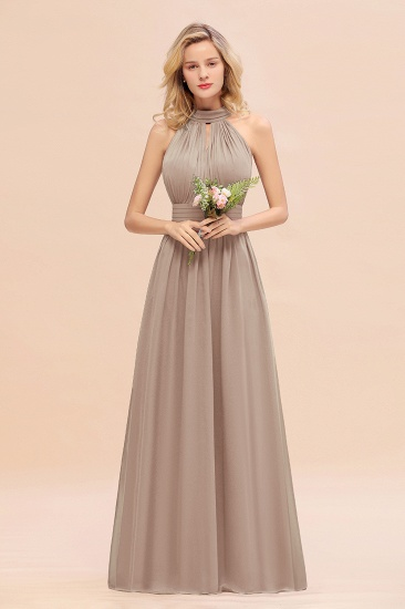 Glamorous High-Neck Halter Bridesmaid Affordable Dresses with Ruffle_16