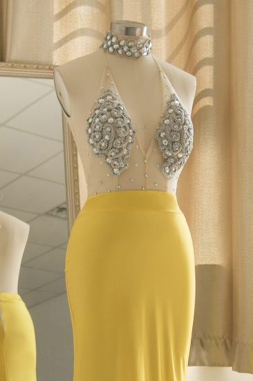 Sexy Yellow Halter Backless Prom Dress Long Mermaid With Crystals_7