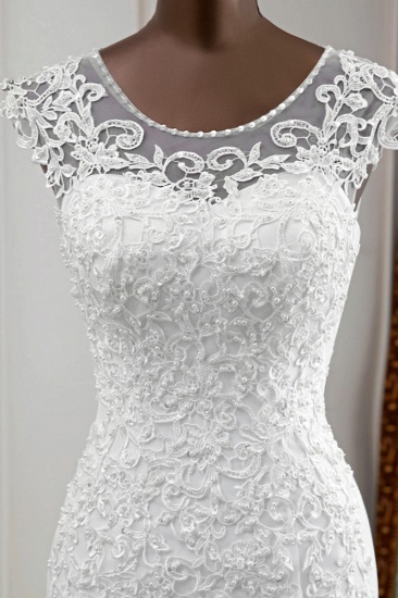 Gorgeous Jewel Sleeveless White Lace Mermaid Wedding Dresses with Appliques_7