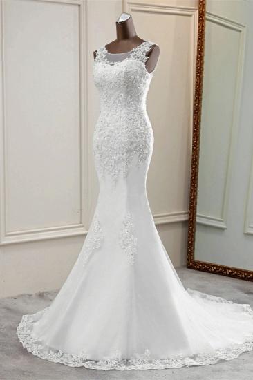 Stunning Jewel Sleeveless White Wedding Dresses White Mermaid Beadings Bridal Gowns_5