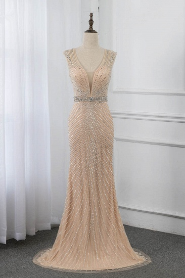 BMbridal Luxury V-Neck Beadings Mermaid Prom Dresses with Crystals On Sale_1