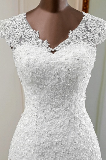 Luxury V-Neck Sleeveless White Lace Mermaid Wedding Dresses with Appliques_7