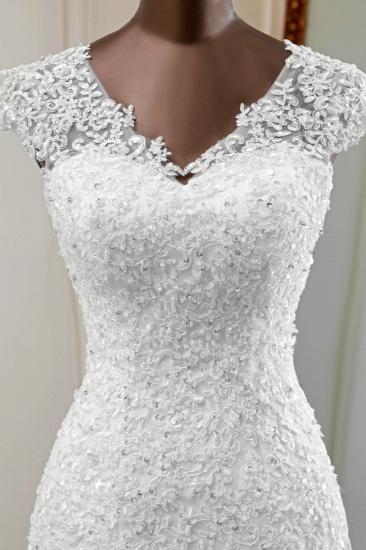 BMbridal Luxury V-Neck Sleeveless White Lace Mermaid Wedding Dresses with Appliques_7