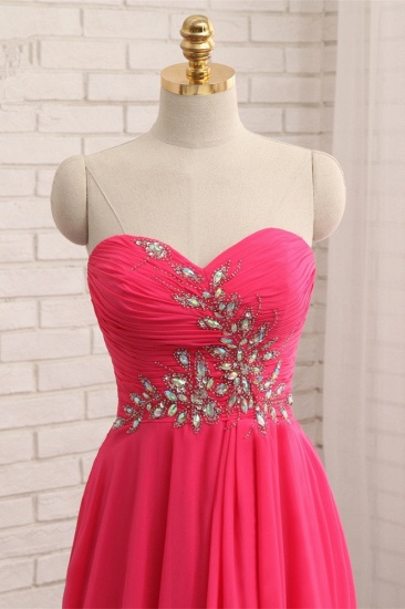 Chic Strapless Sweetheart Watermelon Prom Dresses A-Line Ruffles Crystals Evening Dresses Online_6
