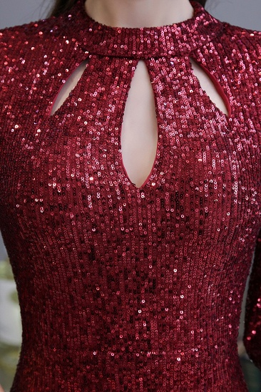 BMbridal Burgundy Short Sleeve Sequins Prom Dress Long Party Gowns Online_10