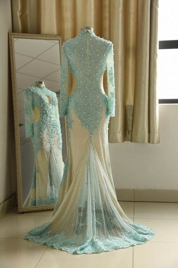 BMbridal Gorgeou High-Neck Lace Appliques Prom Dresses Long Sleeves Front Slit Evening Gowns with Pearls_3