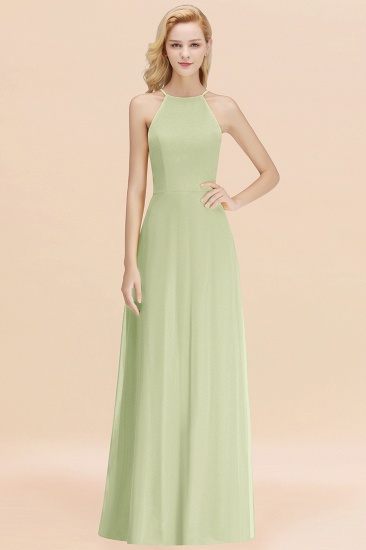 Modest High-Neck Yellow Chiffon Affordable Bridesmaid Dresses Online_35