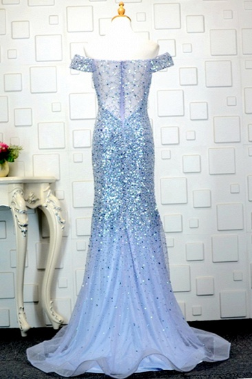 Glamorous Off-the-Shoulder Blue Mermaid Prom Dresses with Rhinestones On Sale_3