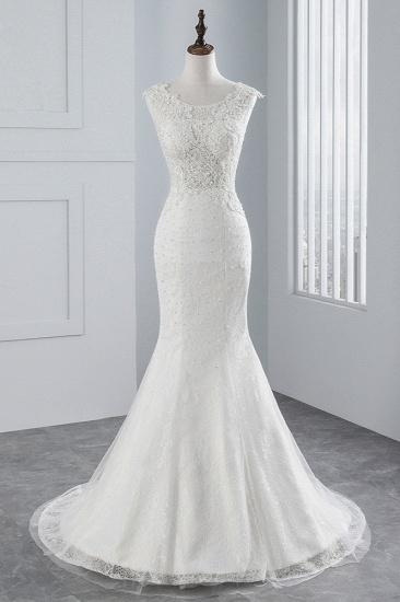 BMbridal Glamorous Jewel Sleeveless Rhinestone White Mermaid Wedding Dresses with Appliques_1
