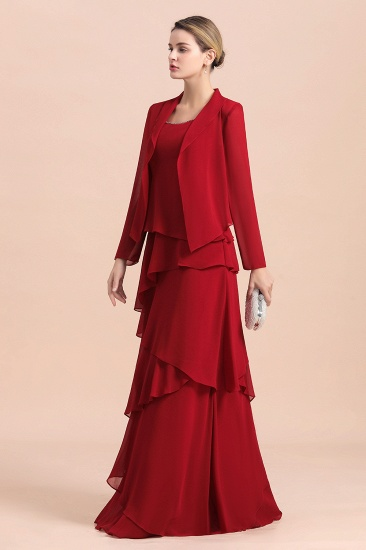 BMbridal Elegant Burgundy Chiffon Mother of the Bride Dress Ruffles With Jacket_4
