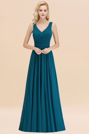 Modest Sleeveless V-Neck Long Chiffon Bridesmaid Dress Online with Ruffle_27