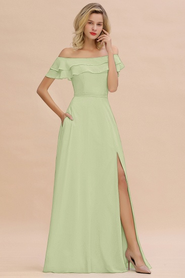 Exquisite Off-the-shoulder Slit Mint Green Bridesmaid Dress With Pockets_35