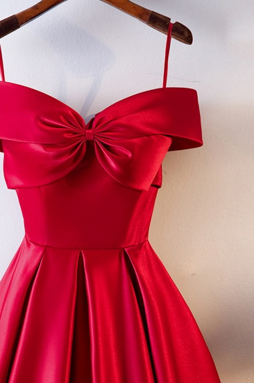 Simple Off-the-Shoulder Satin Red A-Line Prom Dresses Sleeveless Ruffles Evening Dresses Online_4