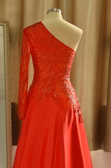 Chic One-Shoulder Red Sequined Prom Dresses One-Sleeve Sexy Party Dress On Sale_7