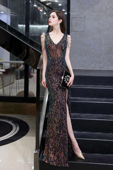 BMbridal Sexy V-Neck Sequins Prom Dress With Split Long Evening Gowns_6