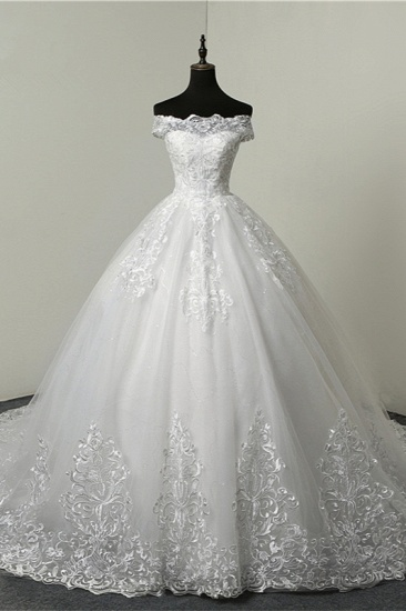 Ball Gown White Tulle Sleeveless Wedding Dresses Off-the-Shoulder Lace Appliques Bridal Gowns