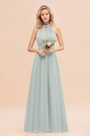 Glamorous High-Neck Halter Bridesmaid Affordable Dresses with Ruffle_38