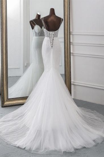 BMbridal Sexy Tulle Spaghetti Straps Mermaid White Wedding Dresses with Rhinestones Online_3