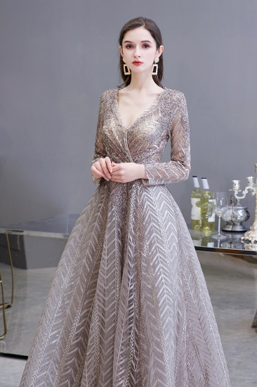 BMbridal Sexy V-Neck Long Sleeve Prom Dress Appliques A-Line Evening Gowns_6