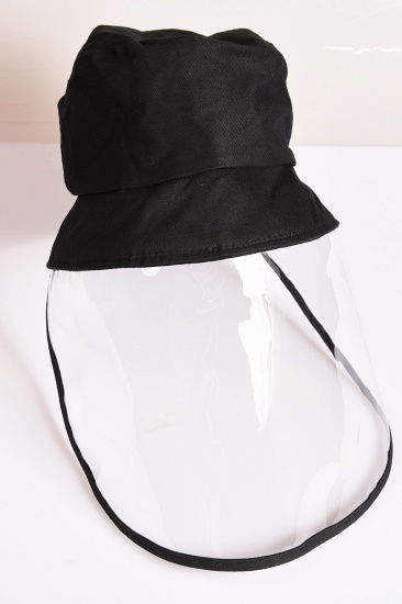Black Fisherman's Hat Blocking Droplets Protective Cap Transparent Sunshade Eye Protection_6