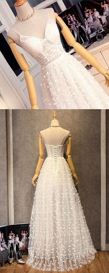 BMbridal Gorgeous Sweetheart Long Spaghetti Straps Wedding Dress Sleeveless Appliques Bridal Gowns On Sale_7