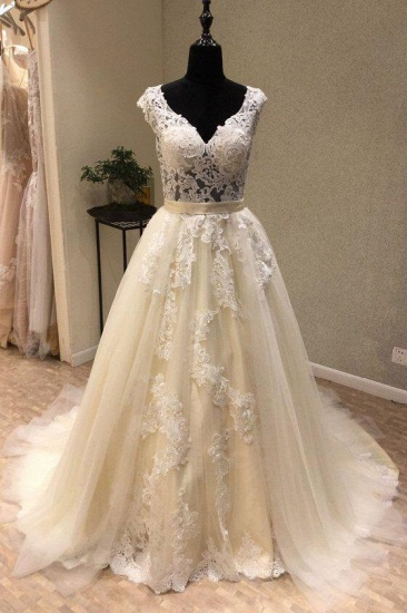 BMbridal Chic Ivory Tulle Lace V-Neck Long Wedding Dress Cap Sleeve Ivory Bridal Gowns On Sale_1