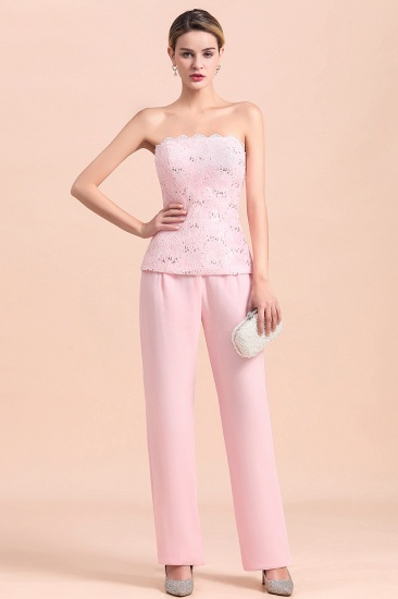 Elegant Strapless Appliques Mother of Bride Jumpsuit with Long Sleeves Wraps_12